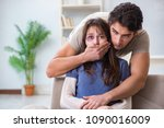 desparate wife with aggressive...   Shutterstock . vector #1090016009