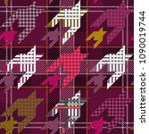 checkered textile print with... | Shutterstock .eps vector #1090019744
