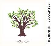 nature. vector silhouette oak... | Shutterstock .eps vector #1090024523
