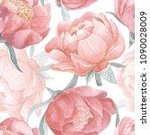 peony bloom watercolor seamless ... | Shutterstock . vector #1090028009