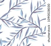 blue exotic branches watercolor ... | Shutterstock . vector #1090028030