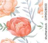 peony bud blooming watercolor... | Shutterstock . vector #1090028033