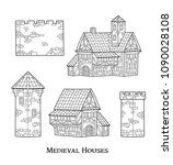medieval ancient buildings set... | Shutterstock .eps vector #1090028108