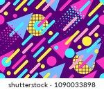 memphis seamless pattern.... | Shutterstock .eps vector #1090033898