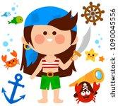 vector set of a pirate girl...   Shutterstock .eps vector #1090045556