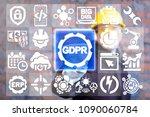 industrial worker clicks a gdpr ... | Shutterstock . vector #1090060784