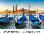venice sunrise. venice gondolas ... | Shutterstock . vector #1090060796