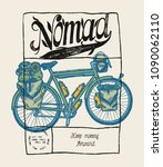 nomad   travel bicycle... | Shutterstock .eps vector #1090062110