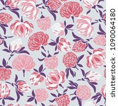 seamless pattern with flowers... | Shutterstock .eps vector #1090064180