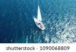 aerial photo of luxury yacht  ... | Shutterstock . vector #1090068809