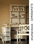vintage white wooden buffet... | Shutterstock . vector #1090069373