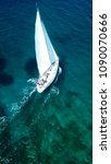 aerial photo of sail boat... | Shutterstock . vector #1090070666
