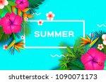 pink hibiscus flower. tropical... | Shutterstock .eps vector #1090071173