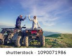 rear view of young pair near... | Shutterstock . vector #1090071986
