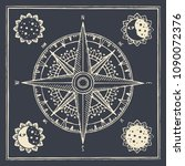 vector banner with wind rose ... | Shutterstock .eps vector #1090072376