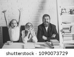 girls and bearded man sit at... | Shutterstock . vector #1090073729