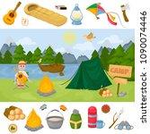 camping children summer camp... | Shutterstock .eps vector #1090074446