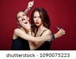 glam girls getting beauty... | Shutterstock . vector #1090075223