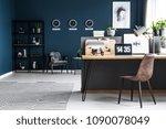 classy  dark blue home office... | Shutterstock . vector #1090078049