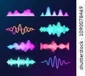 bright color sound voice waves... | Shutterstock .eps vector #1090078469