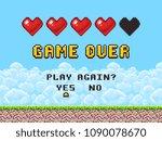 game over pixel art arcade game ... | Shutterstock .eps vector #1090078670
