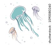 hand drawn jellyfish with a... | Shutterstock .eps vector #1090080260