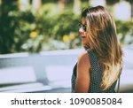 young beautiful woman wearing... | Shutterstock . vector #1090085084