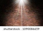 light shining on red brick wall ... | Shutterstock . vector #1090086659