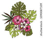 bouquet. tropical flowers ... | Shutterstock .eps vector #1090087109