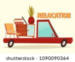 relocation illustration. vector ... | Shutterstock .eps vector #1090090364