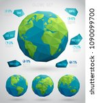 set of vector eco globes  ... | Shutterstock .eps vector #1090099700