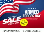 armed forces day sale banner... | Shutterstock .eps vector #1090100318