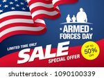 armed forces day sale banner... | Shutterstock .eps vector #1090100339