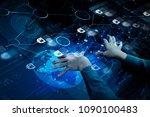 blockchain technology concept... | Shutterstock . vector #1090100483