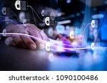 blockchain technology concept... | Shutterstock . vector #1090100486