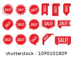 red labels  red isolated on... | Shutterstock .eps vector #1090101809