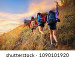 young asian people hiking in... | Shutterstock . vector #1090101920