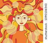 red haired girl. waves. | Shutterstock .eps vector #1090106543