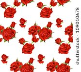Stock vector seamless pattern of red roses on a white background 109010678