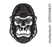 gorilla ape head illustration... | Shutterstock .eps vector #1090106819