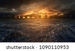 vikings ships on the horizon of ... | Shutterstock . vector #1090110953