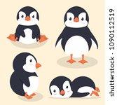 Stock vector cute little penguin vector set 1090112519