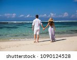 portrait of happy couple  at... | Shutterstock . vector #1090124528