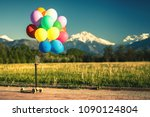 multicolored balloons with kick ... | Shutterstock . vector #1090124804