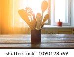 kitchen utensils in the...   Shutterstock . vector #1090128569