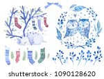christmas greeting watercolor... | Shutterstock . vector #1090128620