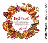 fast food menu sketch poster or ... | Shutterstock .eps vector #1090130420