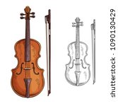 Classic Violin With Bow Vector...
