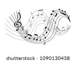 music notes on scale vector... | Shutterstock .eps vector #1090130438