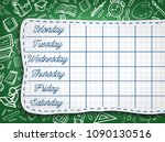 school timetable of lesson... | Shutterstock .eps vector #1090130516